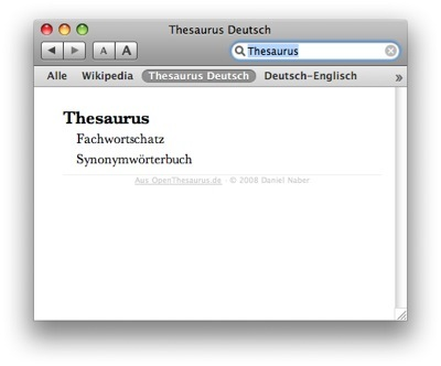 OpenThesaurus German Dictionary Screenshot
