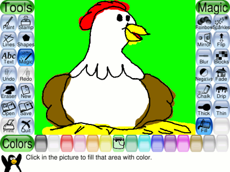 Tux Paint Screenshot with Starter Picture