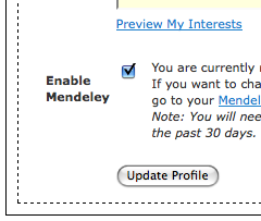 CiteULike Profile - Mendeley Option