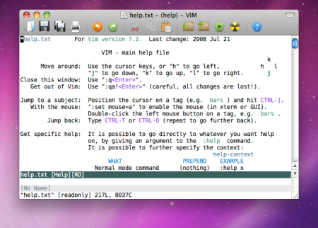 MacVim 7.2 help Screenshot