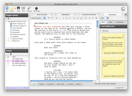 Celtx 2 Screenplay Screenshot