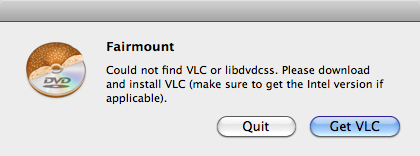 Fairmount 1.0.5 Get VLC Dialog