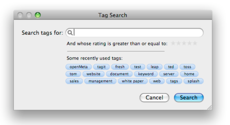 Tagit Search Screen