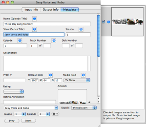 Video Monkey 0.5 Metadata Screenshot