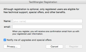 TextWrangler Registration