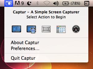 Captur Menu Screenshot