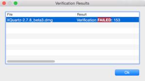 XQuartz-2.7.8_beta3 Verificatoin Failed